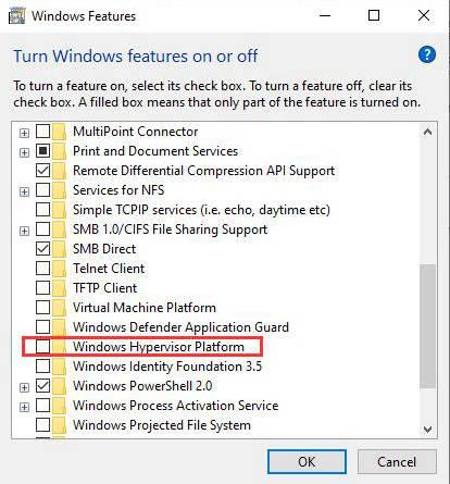 Disable Windows Hypervisor Platform