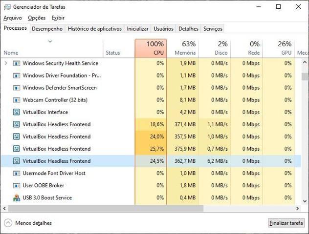 Usa multi-instância e CPU fica quase 100 % ???